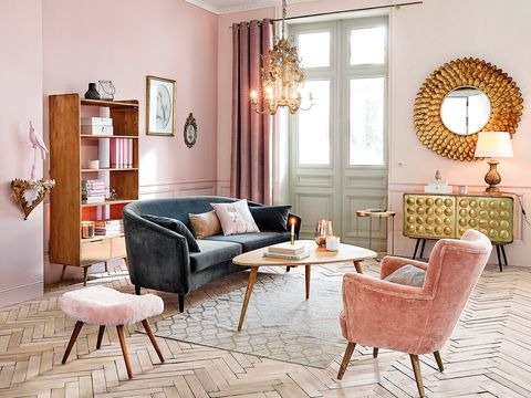 Living room, Furniture, Room, Interior design, Property, Pink, Coffee table, Chair, Table, Wall,