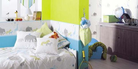 Blue, Room, Green, Interior design, Textile, Bed, Wall, Linens, Furniture, Turquoise,