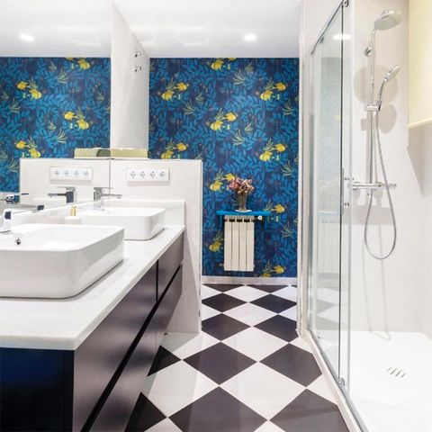 Bathroom, Tile, Room, Property, Floor, Interior design, Wall, Building, Flooring, Architecture,