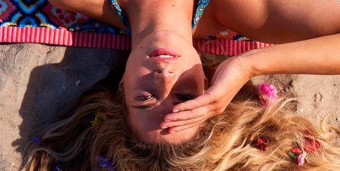 Beauty, Blond, Long hair, Fun, Bikini, Muscle, Photography, Fashion accessory, Chest, Swimwear,