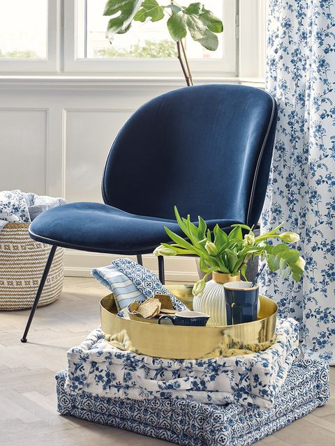 Blue, Furniture, Living room, Room, Chair, Couch, Interior design, Slipcover, Ottoman, Design,