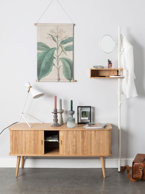 Furniture, White, Room, Table, Interior design, Shelf, Sideboard, Wall, Chest of drawers, Floor,