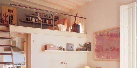 Room, Interior design, Living room, Home, Ladder, Wall, Floor, Table, Flooring, Interior design,