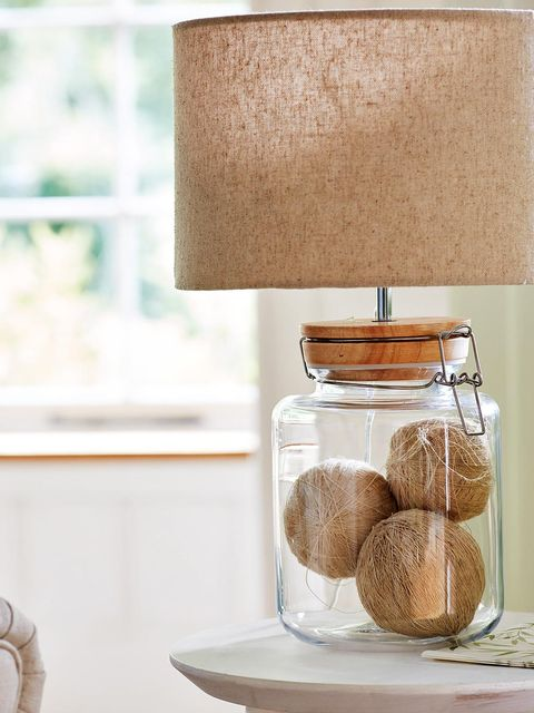 Shelf, Mason jar, Furniture, Lamp, Table, Room, Interior design, Food, Beige, Interior design,