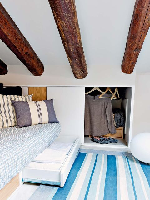 Room, Bedroom, Furniture, Wood, Interior design, House, Ceiling, Attic, Beam, Table,
