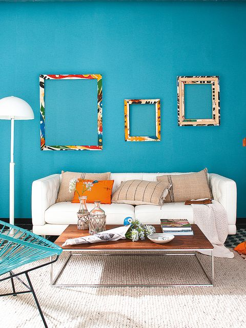 Blue, Furniture, Room, Living room, Aqua, Turquoise, Green, Wall, Interior design, Couch,