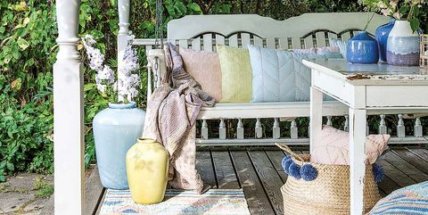 Blue, Furniture, Porch, Table, Yellow, Room, Tree, Home, Deck, Patio,