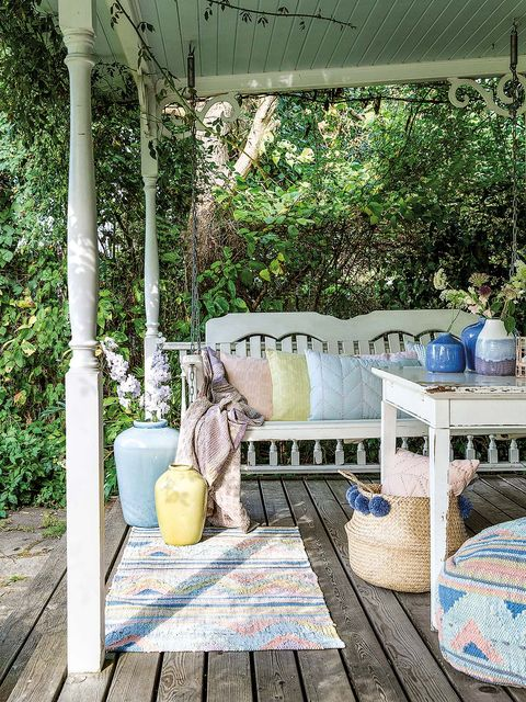 Blue, Porch, Furniture, Patio, Home, Room, Tree, Swing, House, Backyard,