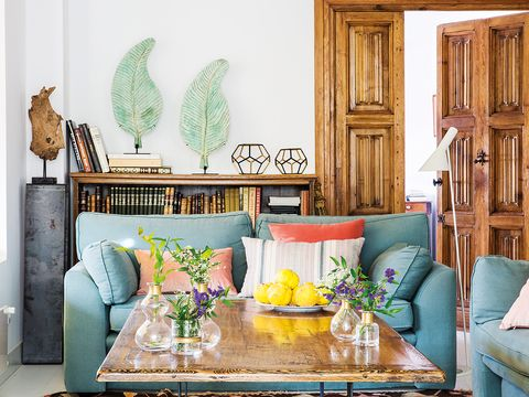 Green, Living room, Room, Furniture, Interior design, Yellow, Turquoise, Home, Couch, Wall,