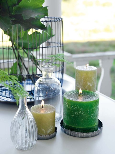 Green, Candle, Lighting, Glass, Leaf, Table, Vegetable juice, Grass, Room, Plant,