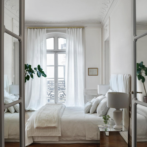 Furniture, White, Room, Interior design, Bedroom, Bed, Curtain, Bed frame, Property, Canopy bed,