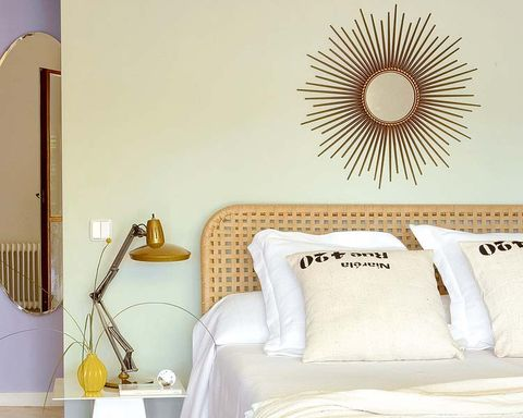 Yellow, Room, Interior design, Wall, Pillow, Grey, Linens, Cushion, Interior design, Beige,