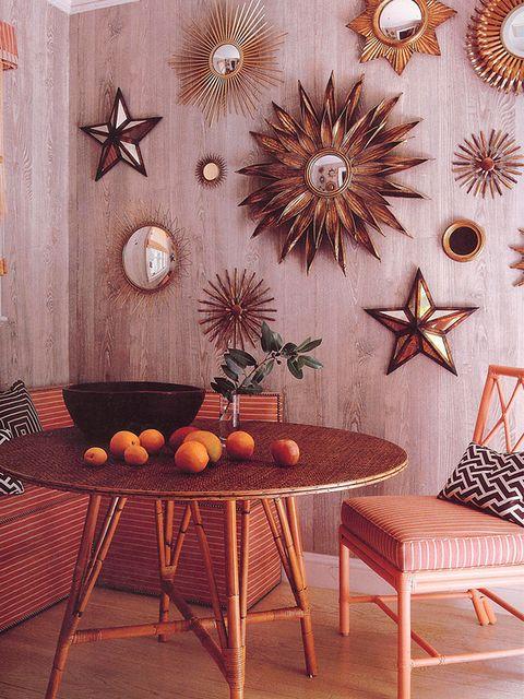 Room, Interior design, Table, Furniture, Interior design, Orange, Fruit, Dining room, Wallpaper, Living room,