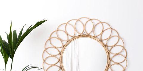 Mirror, Room, Plant, Interior design, Circle, Oval, Window, Interior design,
