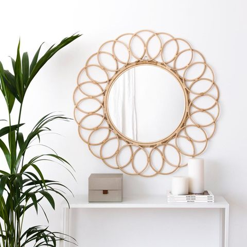 Mirror, Room, Plant, Interior design, Circle, Oval, Window, Interior design,