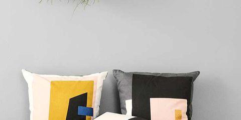 Yellow, Room, Textile, Pillow, Cushion, Throw pillow, Wall, Bedding, Linens, Interior design,