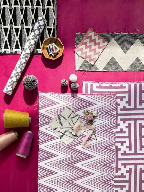Pink, Magenta, Textile, Placemat, Pattern, Needlework, Material property, Tablecloth, Woven fabric, Pattern,