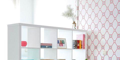 Interior design, Room, Wall, Shelf, Shelving, Interior design, Teal, Turquoise, Aqua, Still life photography,