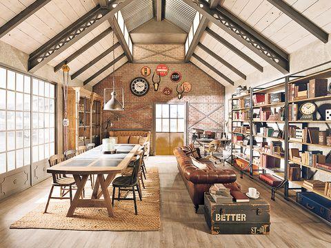 Building, Room, Interior design, Furniture, Living room, Ceiling, Loft, Home, Table, Architecture,