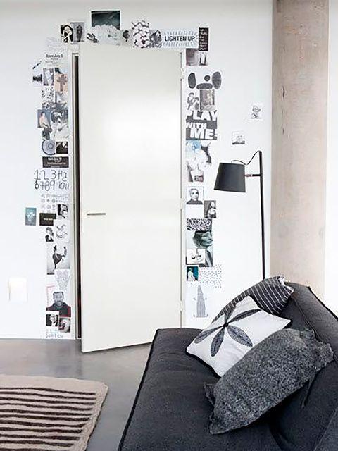 Room, Wall, Interior design, Linens, Bedding, Bed sheet, Bedroom, Grey, Door, Black-and-white,