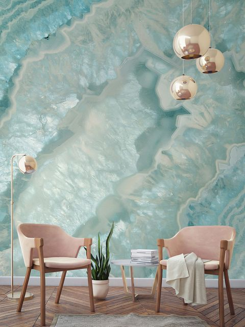 Blue, Turquoise, Wall, Aqua, Room, Furniture, Table, Pink, Wallpaper, Interior design,