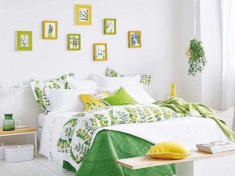 Green, Yellow, Room, Interior design, Textile, Wall, Bedding, Bedroom, Lemon, Linens,