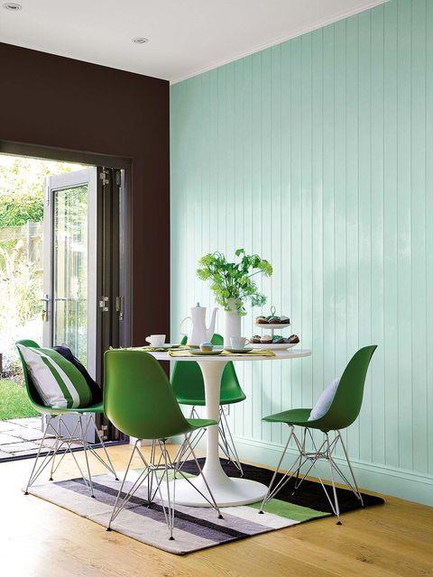 Green, Wood, Floor, Room, Interior design, Flooring, Furniture, Wall, Table, Hardwood,