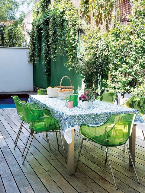 Green, Furniture, Table, Outdoor table, Outdoor furniture, Garden, Shrub, Hardwood, Chair, Backyard,