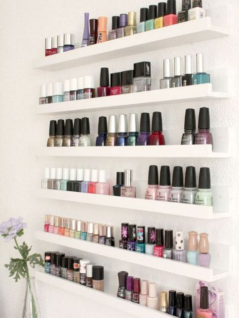 Shelf, Shelving, Product, Nail polish, Beauty, Furniture, Cosmetics, Nail care, Material property, Room,