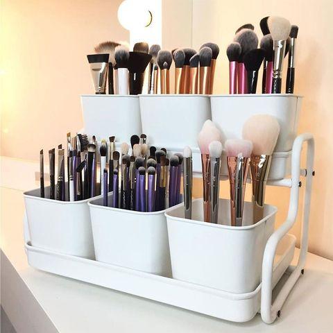 Brush, Product, Makeup brushes, Cosmetics, Beauty, Shelf, Furniture, Material property, Tool, Lipstick,