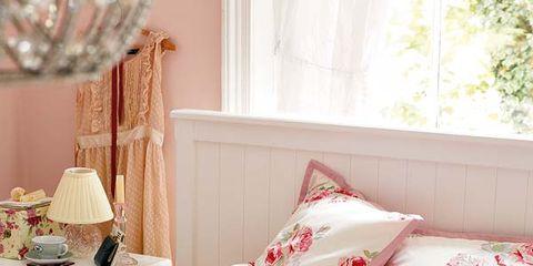 Room, Interior design, Textile, Home, Pink, Wall, Interior design, Linens, Cushion, Window treatment,