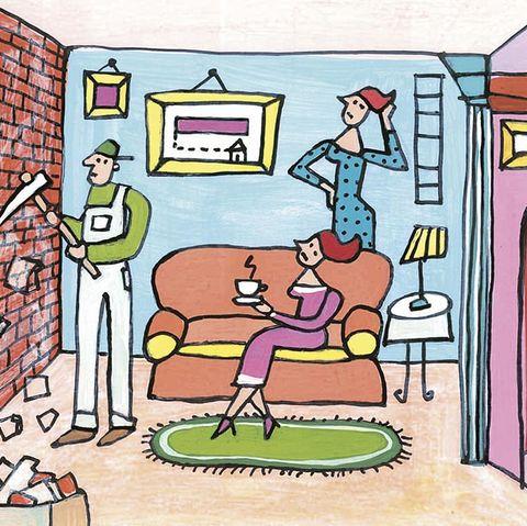 dibujo de un salón en reformas