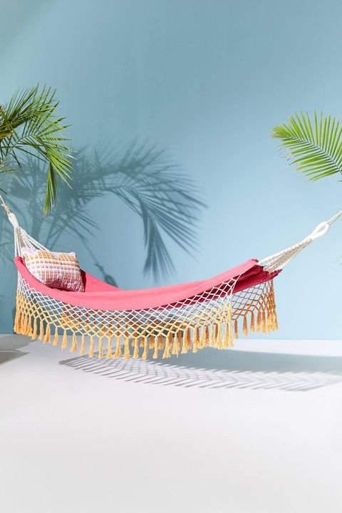 Hammock, Tree, Vacation, Furniture, Outdoor furniture, Palm tree, Illustration, Arecales, Sunlounger, Plant,