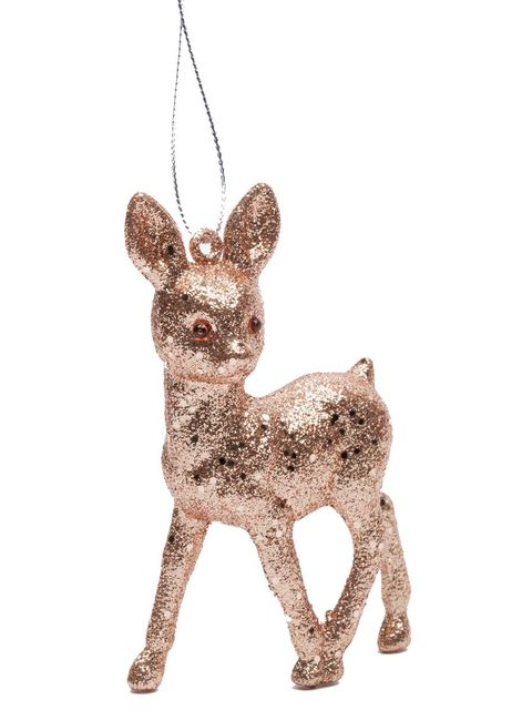 Mammal, Holiday ornament, Deer, Animal figure, Canidae, Reindeer, Figurine, Ornament, Fawn, Christmas ornament,
