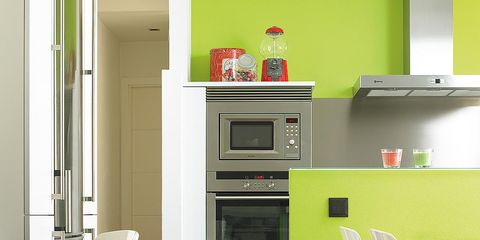 Wood, Green, Room, Yellow, Floor, Flooring, Major appliance, White, Furniture, Kitchen appliance,