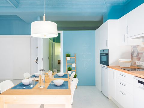 Blue, Room, White, Property, Turquoise, Green, Interior design, Furniture, Kitchen, Ceiling,