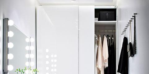 Room, Wall, White, Interior design, Clothes hanger, Floor, Cabinetry, Wardrobe, Grey, Closet,