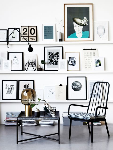Room, Interior design, White, Furniture, Chair, Interior design, Art, Picture frame, Lamp, Collection,