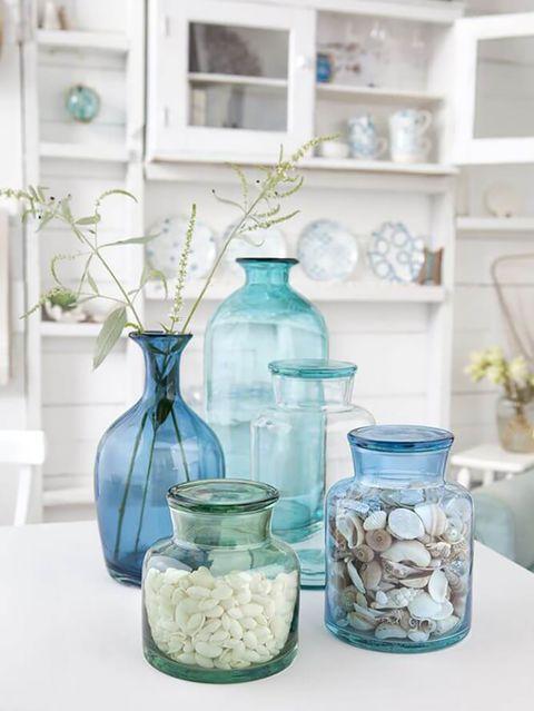 Mason jar, Blue, Aqua, Turquoise, Room, Glass, Food storage containers, Shelf, Tableware, Interior design,