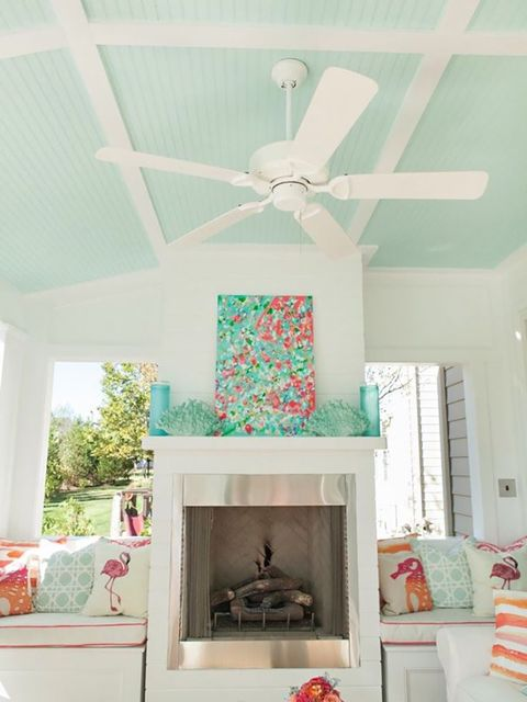 Room, Ceiling, Interior design, Turquoise, Living room, Home, Furniture, House, Fireplace, Building,