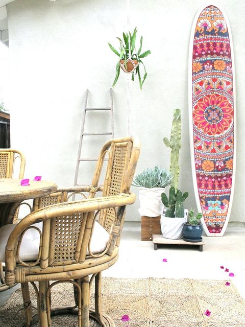 Room, Furniture, Chair, Interior design, Pink, Table, Surfboard, Living room, Home, House,