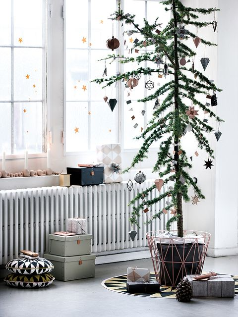 Twig, Flowerpot, Conifer, Christmas decoration, Christmas tree, Fir, Cylinder, Pine family, Basket, Storage basket,