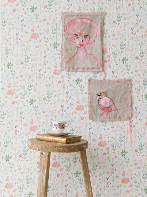 Textile, Pink, Peach, Serveware, Creative arts, Fawn, Artwork, Visual arts, Stool, Painting,