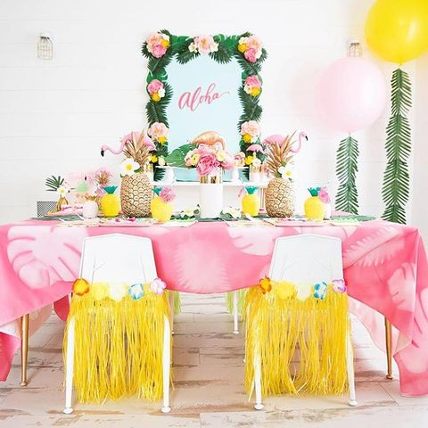 Pink, Yellow, Birthday party, Party supply, Table, Balloon, Party, Cake, Cake decorating, Pasteles,