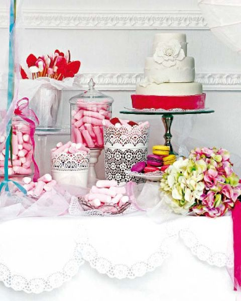 Sweetness, Cake, Cuisine, Dessert, Food, Baked goods, Pink, Ingredient, Party supply, Serveware,