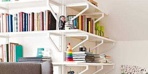 Room, Interior design, Shelf, Furniture, Shelving, Wall, Living room, Publication, Couch, Bookcase,