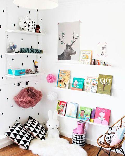 dormitorio infantil con rincón de lectura