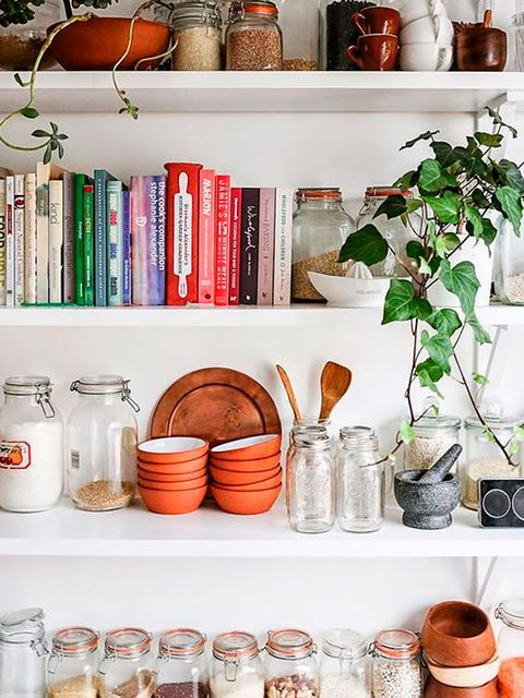 Shelf, Mason jar, Orange, Room, Shelving, Furniture, Kitchen, Tableware, Food storage containers, Dinnerware set,