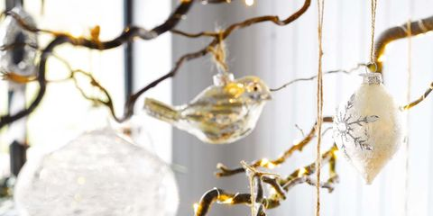 Branch, Twig, Ornament, Metal, Christmas decoration, Interior design, Silver,