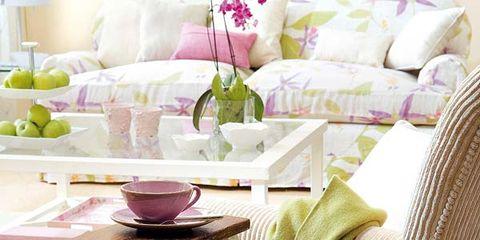 Green, Dishware, Serveware, Furniture, Interior design, Pink, Room, Table, Lavender, Purple,